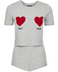 Topshop Sweet Dreams Cropped Pj Tee and Shorts - Lyst