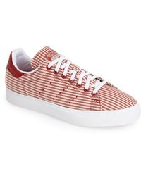 Adidas 'Stan Smith' Canvas Stripe Sneaker red - Lyst