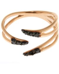 Kismet by Milka - Rose Gold Black Diamond Three Arm Pinky Ring - Lyst