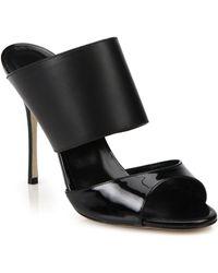 Manolo Blahnik Ripta Two-Tone Leather Mule Sandals - Lyst
