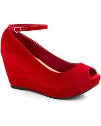 ModCloth After Party Planner Wedge in Red red - Lyst