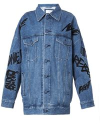 Julien David | Embroidered-Slogan Denim Jacket | Lyst