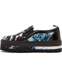 MSGM Black Canvas and Leather Marble Slip_on Sneakers - Lyst