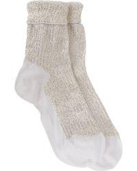 Saint Laurent - Embellished Foldover Ankle Socks - Lyst