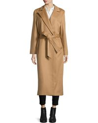 Sofia Cashmere Long Cashmere Belted Coat beige - Lyst