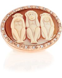 Amedeo - Wise Monkeys Cornelian Cameo Diamond Ring - Lyst