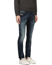 Diesel Blue Faded Stretch Denim Thavar_ne Jogg Jeans - Lyst