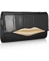 Diane Von Furstenberg Flirty Elaphe and Leather Clutch - Lyst