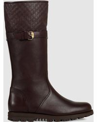 Gucci | Leather Boot With Fur Lining | Lyst