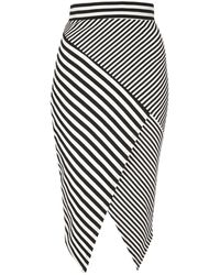 Jane Norman Striped Asymmetric Skirt - Lyst