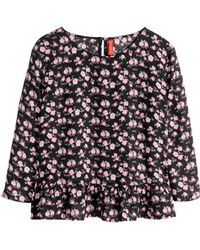H&M Frilled Blouse - Lyst