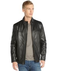 Marc New York Black Leather Stand Collar Zip Front Filled Jacket - Lyst