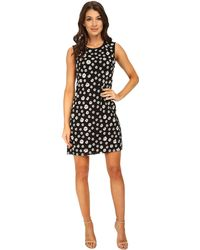 Adrianna Papell Embroidered Floral Chiffon Shift Dress - Lyst