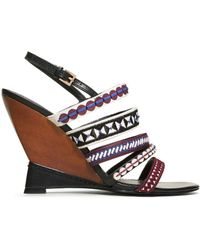 Tory Burch Mixed Trims Wedge Sandal - Lyst