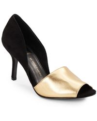 Vince Camuto Signature Sadet Suede & Metallic Leather Open-Toe D'Orsay Pumps - Lyst