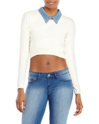 Maje Denim Collar Cropped Pullover - Lyst