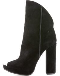 CoSTUME NATIONAL - Peep-toe Suede Ankle Boot - Lyst