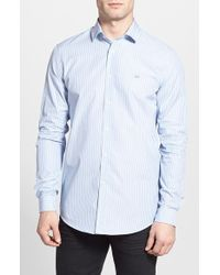 Lacoste Regular Fit Stripe Woven Shirt blue - Lyst