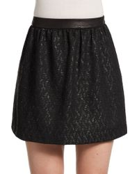 Alice + Olivia Coated Striped Leatheraccented Woven Skirt - Lyst