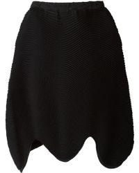 Issey Miyake Scalloped Hem Ribbed Skirt - Lyst