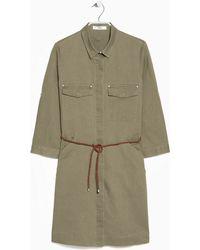 Mango Linen-Blend Shirt Dress - Lyst