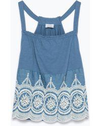 Zara Embroidered Top - Lyst