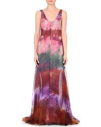 Emilio Pucci Tie-Dyed Silk-Chiffon Gown - Lyst