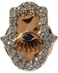 Kismet by Milka - Gold Hamsa White Diamond Stud Earring - Lyst