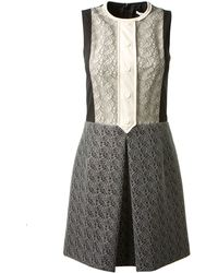 Carven Twocolor Dress Embellished with Lace - Lyst