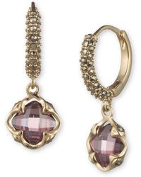 Judith Jack - 10k Gold-plated 925 Sterling Silver, Marcasite And Faux Amethyst Huggie-drop Earrings - Lyst