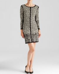 Velvet By Graham & Spencer Mya Snow Leopard Jacquard Dress - Lyst