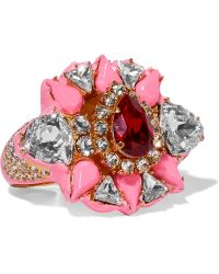 Shourouk - Galaxy Gold-tone, Crystal And Enamel Two-finger Ring - Lyst