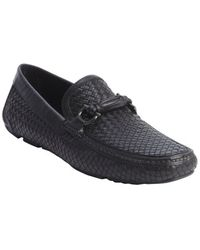 Ferragamo Black Woven Leather Gancio Horsebit Slip On Loafers - Lyst