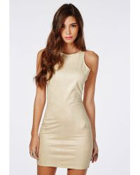 Missguided Suede Snake Sleeveless Bodycon Dress Nude - Lyst