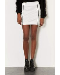Topshop White Double Zip Mini Skirt - Lyst