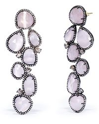 Ralph Lauren Pink Diamondquartz Earrings - Lyst