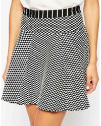 Harlyn - Checker And Striped Flare Skirt - Lyst