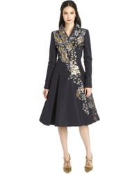 Oscar de la Renta Long-Sleeve Paillette & Lame Embroidered Coat - Lyst