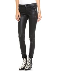 Joe's Jeans Rollin Zip Coated Legging Jeans Jet Black - Lyst