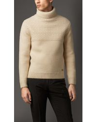 Burberry Merino Wool Cashmere Roll Neck Sweater - Lyst