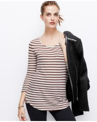 Ann Taylor Striped Cotton 34 Sleeve Tee - Lyst