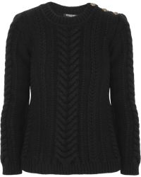 Balmain Cable Knit Wool Sweater - Lyst