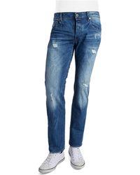 G-Star RAW Distressed Straight Leg Jeans - Lyst