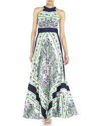 Eliza J Floral Pleated Halter Maxi Dress - Lyst