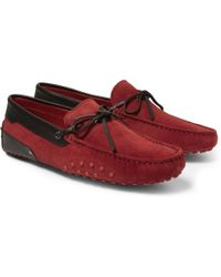 Tod's Ferrari Gommino Suede And Leather Driving Shoes - Lyst