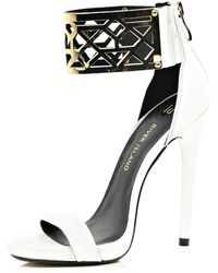River Island White Metal Cuff Barely There Sandals - Lyst