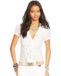 Denim & Supply Ralph Lauren Ruffled Short-Sleeve Blouse - Lyst