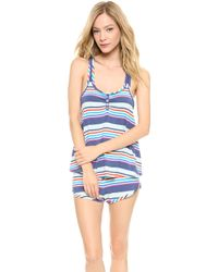 Splendid Piped Cutie Pajama Set Multi Stripe - Lyst