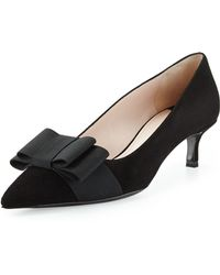 Miu Miu Suede Low-heel Bow Pump - Lyst
