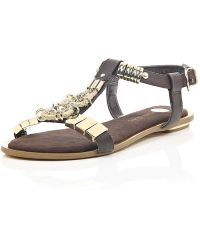 River Island Brown Jewel Detail T-Bar Sandals - Lyst